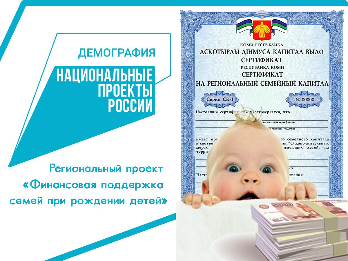 В Коми сертификат на региональный семейный капитал при рождении третьего ребенка в прошлом году получили 1582 семьи
